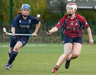 Alba captain and Skye stalwart Caitlin MacLean tracks her Irish opponent.