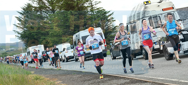 Gridlock! The mass of runners bring a temporary closure to the A850 at Carbost.