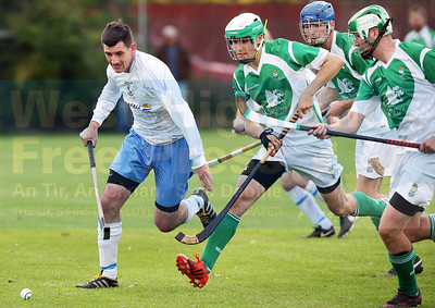 Despite being surrounded by Beauly opponents, Iain Nicolson is the clear favourite for the ball.