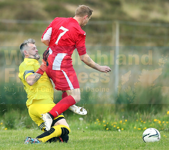 Connor Yoxon is brought down by the Gairloch keeper with Martin MacKinnon scoring from the resultant penalty.