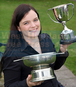 Donna Dugdale from Tobermory with the Kennedy-Fraser cup and the Johanna Fortune Memorial Trophy.