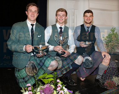 The main prize winners from Saturday's piping competitions were,  Charles MacDonald from Inverness for Piobaireachd, Sandy Cameron from Roy Bridge for March, Strathspey and Reel and Angus MacColl of Berderloch for the Hornpipe and Jig competition.
