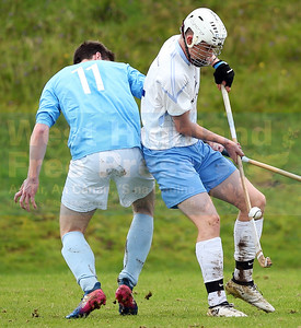 Cabers forward Craig Morrison loses out to John Gillies.