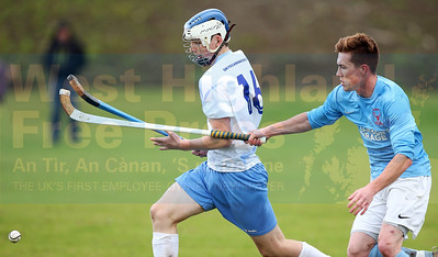 Connor Gilpin breaks away from Ryan MacKay.