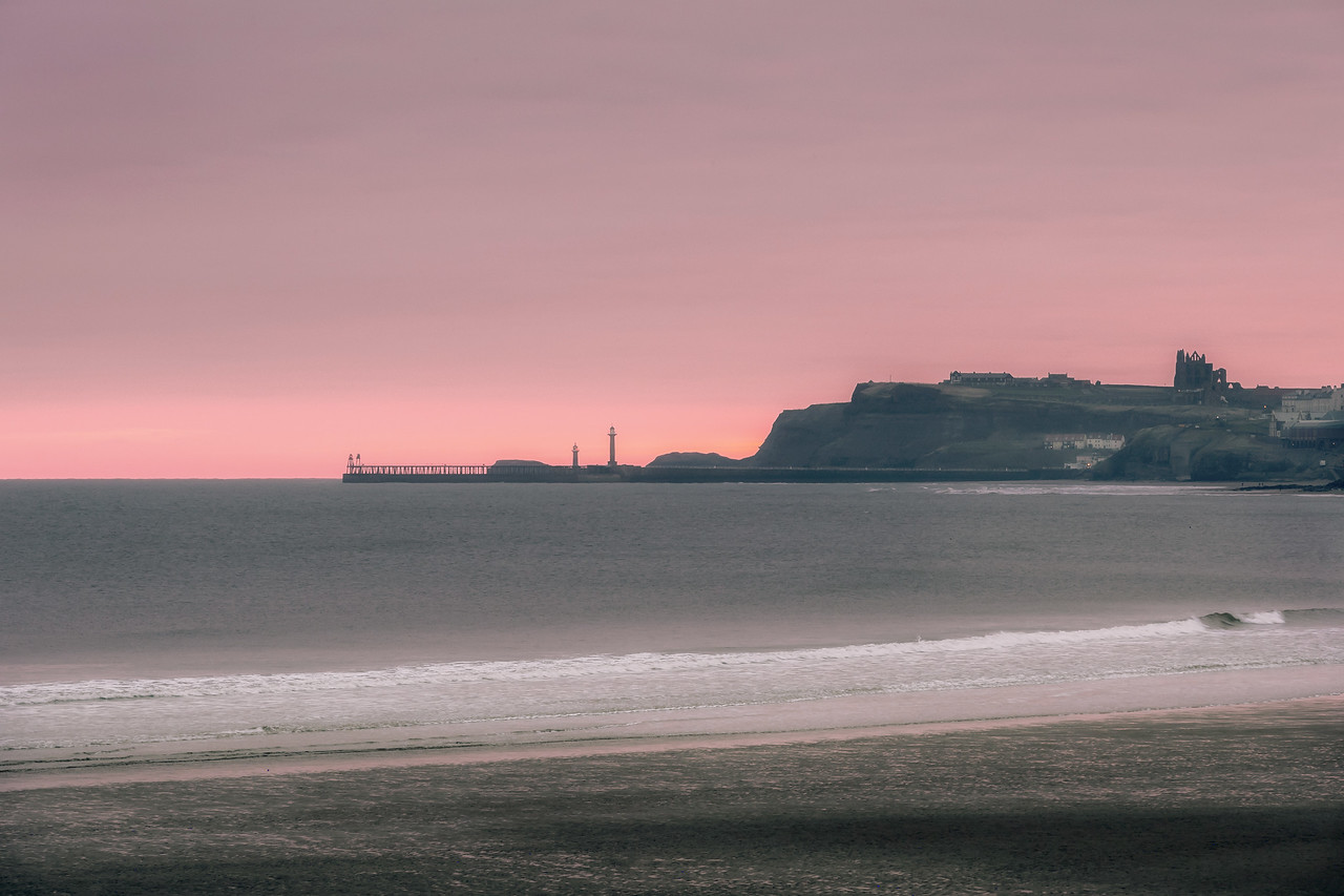 COOL VIOLET DAWN OVER WHITBY