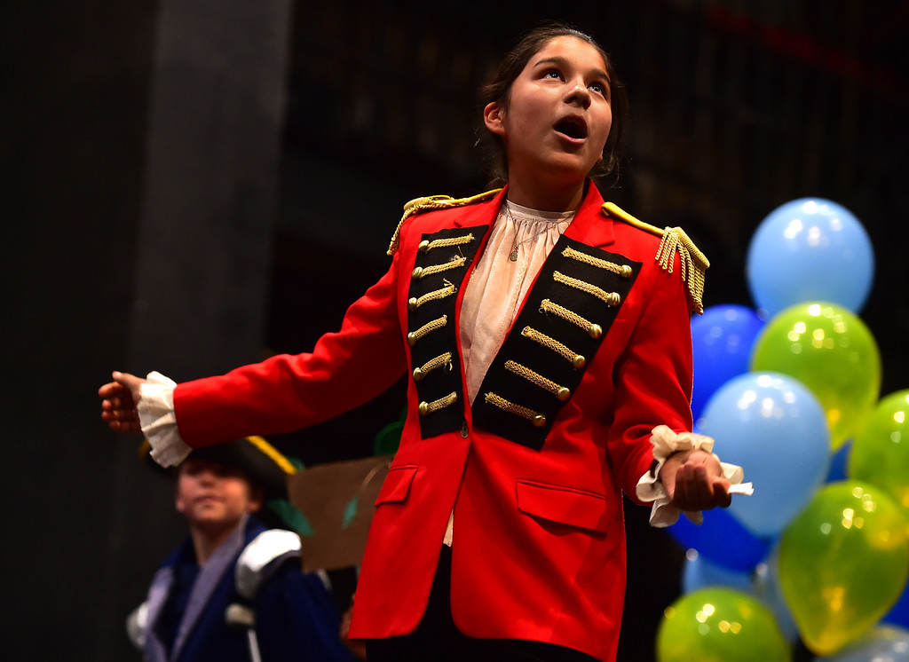 . Alondra Fabela , of Crest View Elementary, plays Lord Dumaine in Love\'s Labour\'s Lost during the Will Power Festival on the University of Colorado Boulder Campus on Monday. For more photos and video go to dailycamera.com. Paul Aiken Staff Photographer The Daily Camera May 14 2018