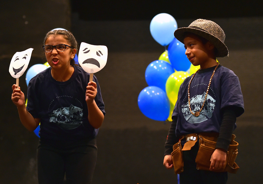. Brianna Canales, left, and Everson Diaz Lopez, both of Whittier Elementary, play in Love\'s Labour\'s Lost during the Will Power Festival on the University of Colorado Boulder Campus on Monday. For more photos and video go to dailycamera.com. Paul Aiken Staff Photographer The Daily Camera May 14 2018