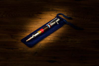 The Marine Service pen is created after a 30 Caliber bullet with the USA colors and  Marine colors of scarlet and gold.  Over 28 separate steps go in the finish and design of each pen.  Each pen a unique work of art.  Chrome - Price $150.00 PayPal accepted Contact  through website to purchase.