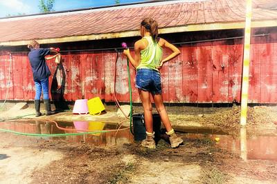 Outside the barns