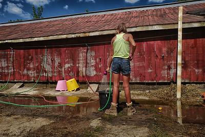 young girl at harrow fair barns