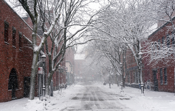 . Snow scene of empty Palmer Street in Lowell.  (The Sun / Chris Tierney)