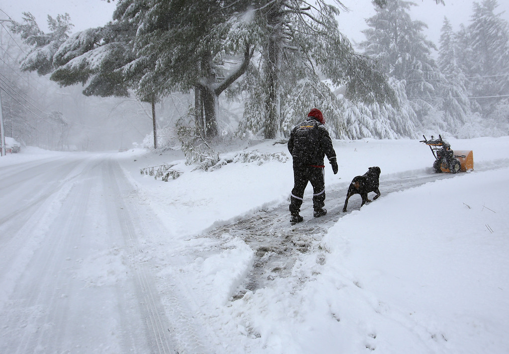 . David Duarte of Tewksbury clears his driveway on East Street. He\'s dog-sitting his brother-in-law\'s dog, Raja, 14, who enjoys the snow. (SUN/Julia Malakie)