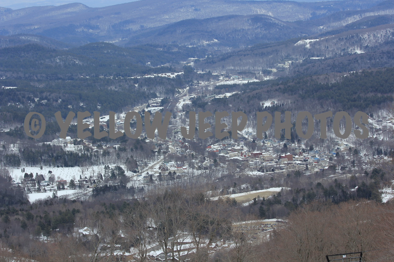 View from the race course, the town of Ludlow, VT below.