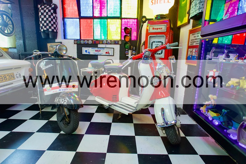 Vespa Scooter 42L2 1956 & Lambretta LD. Cotswold Motoring Museum, Bourton-on-the-Water, Gloucestershire