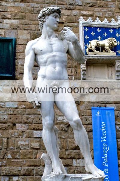 A Replica of David Outside the Palazzo Vecchio, Florence.