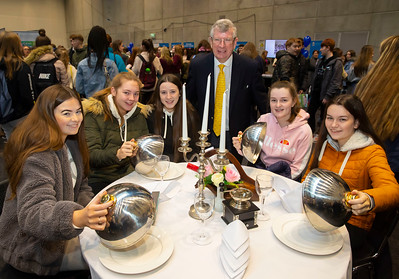 """22/11/2019. FREE TO USE IMAGE. Pictured at Waterford Institute of Technology (WIT) Open Day. Pictured are Amy Laherty, Olivia O'Keeffe, Aisling O'Mahony, Ella Moore and Jessica Catt from Ballyhale with Ray Cullen, Head of Dept Languages Tourism Hospitality. Picture: Patrick Browne  Two open days taking place this week for school leavers and adult learners at WIT Arena  Families of south east Leaving Cert students wishing to get as much course and college-related research done as early as possible in sixth year can do so by attending the Waterford Institute of Technology (WIT) Saturday Open Day, 9am-2pm on 23 November 2019. The traditional schools' open day will run as usual on Friday, 22 November with a focus on information for secondary school students, students in further education colleges, and other CAO applicants, including mature students.  The Saturday Open Day – isn't just about courses for school leavers – it will have information available on the courses available across WIT's schools of Lifelong Learning, Humanities, Engineering, Science & Computing, Health Sciences, Business.  Adults interested in upskilling, or re-skilling can find out about Springboard courses, traditional evening courses as well as part-time and postgrad courses which are offered. WIT also runs specialist programmes for education, science, engineering and other professionals. The number of students studying WIT's part-time and online courses increased to 1650 in 2018, a 28% increase on 2017.  WIT Registrar Dr Derek O'Byrne says: """"A trend we are seeing at WIT Open Days is that students who may have enjoyed the Schools Open day with their friends and school groups, will return the following day with their parents or guardians.""""  Students whose schools are attending are encouraged to join their school group on the Friday. As school students are fully catered for at the Schools' Open Day on Friday, there will not be the same breadth of school leaver focused talks"""