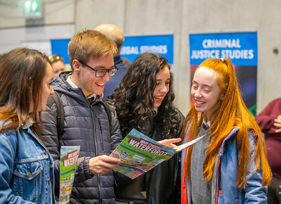 "22/11/2019. FREE TO USE IMAGE. Pictured at Waterford Institute of Technology (WIT) Open Day. Pictured are Tara Myers, Kacper Pilarek, Emily Myers and Sienna McEvoy from Waterpark, Waterford City. Picture: Patrick Browne  Two open days taking place this week for school leavers and adult learners at WIT Arena  Families of south east Leaving Cert students wishing to get as much course and college-related research done as early as possible in sixth year can do so by attending the Waterford Institute of Technology (WIT) Saturday Open Day, 9am-2pm on 23 November 2019. The traditional schools' open day will run as usual on Friday, 22 November with a focus on information for secondary school students, students in further education colleges, and other CAO applicants, including mature students.  The Saturday Open Day – isn't just about courses for school leavers – it will have information available on the courses available across WIT's schools of Lifelong Learning, Humanities, Engineering, Science & Computing, Health Sciences, Business.  Adults interested in upskilling, or re-skilling can find out about Springboard courses, traditional evening courses as well as part-time and postgrad courses which are offered. WIT also runs specialist programmes for education, science, engineering and other professionals. The number of students studying WIT's part-time and online courses increased to 1650 in 2018, a 28% increase on 2017.  WIT Registrar Dr Derek O'Byrne says: ""A trend we are seeing at WIT Open Days is that students who may have enjoyed the Schools Open day with their friends and school groups, will return the following day with their parents or guardians.""  Students whose schools are attending are encouraged to join their school group on the Friday. As school students are fully catered for at the Schools' Open Day on Friday, there will not be the same breadth of school leaver focused talks and events at the open day on Saturday. However, says Dr O'Byrne it"