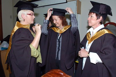 Provision 251006 Susan Jackman (Waterford), Maria Gallagher (Waterford) and Linda McCann (Waterford) from get ready before their graduation ceremony at WIT on Wednesday.  They all graduated with a FETAC Certificate in General Studies. PIC Bernie Keating/Provision