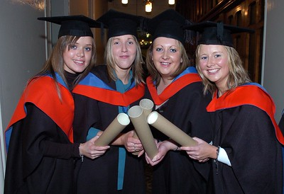 Provision 251006 Louise Griffin (Waterford), Sinead Lanham (Laois), Aisling Hennessey (Tipperary) and Deborah Dunne (Tipperary) graduated with a Higher Certificate in Legal Studies from WIT yesterday (Weds). PIC Bernie Keating/Provision