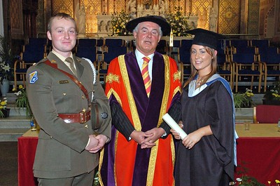 Provision 251006 Pictured with Professor Kieran Byrne (Director of WIT) are Ian O'Riordan (McKee Barracks, Dublin) and his sister Yvonne O'Riordan from Cork city who graduated with a BA in Applied Social Studies in Social Care. PIC Bernie Keating/Provision  PIC Bernie Keating/Provision