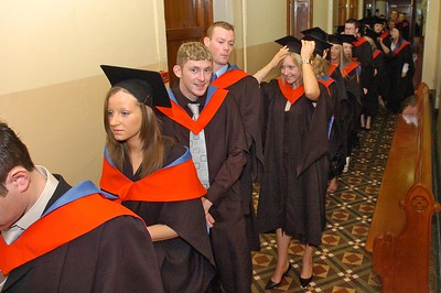 Provision 261006 Students queuing up before their graduation ceremony on Thursday 26th October. PIC Bernie Keating/Provision