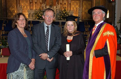 Provision 251006 Pictured with Professor Kieran Byrne (Director of WIT) are L-R Martha and Tom Parlon (Minister of State at Dept of Finance) and their daughter Aoife (Roscrea, Tipperary) who graduated with a BA (Hons) in Applied Social Studies in Social Care from WIT yesterday (Tuesday). PIC Bernie Keating/Provision