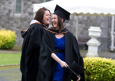 6/1/2012. News. Free to use image. Waterford Institute of Technology (WIT) conferring ceremony. Pictured are Holly Cheek, Waterford and Roisin Lyne, Cahersiveen, Co. Kerry who graduated with a Bachelor of Arts (Honours) in Applied Social Studies in Social Care. Photo Patrick Browne