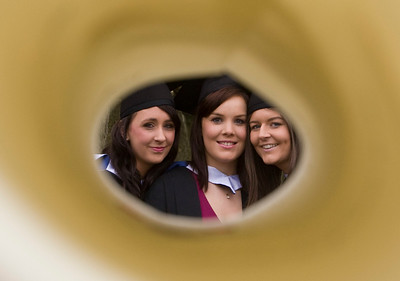 6/1/2012. News. Free to use image. Waterford Institute of Technology (WIT) conferring ceremony. Pictured are Gemma Phelan, Laois, Megan Roche, Waterford and Lisa Masterson, Meath who graduated with a Bachelor of Arts in Applied Social Studies in Social Care. Photo Patrick Browne