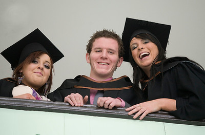 6/1/2012. News. Free to use image. Waterford Institute of Technology (WIT) conferring ceremony. Pictured are Tara Clancy, Laois, Jamie McDonald, Laois and Leanne Casey, Waterford who graduated Bachelor of Arts (Honours) in Criminal Justice Studies. Photo Patrick Browne