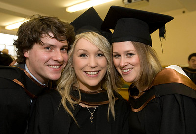 5/1/2012. News. Free to use image. Waterford Institute of Technology (WIT) conferring ceremony. Pictured are Barry O'Connor Cork, Ruth Fox, Galway and Siubhan Ni Dhochartaigh, Athlone who graduated Bachelor of Science (Honors) in Architecture. Photo Patrick Browne