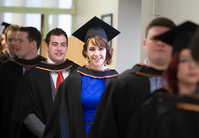 5/1/2012. News. Free to use image. Waterford Institute of Technology (WIT) conferring ceremony. Pictured on the way to the graduating cermony are Michael Hayes Limerick and Aisling Greene Cork who graduated Bachelor of Science (Honors) in Architecture. Photo Patrick Browne