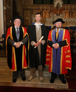 Pictured is Martin Browne, Wexford who graduated BSC in IT. Also pictured is Dr Donie Ormonde, WIT Chairman, and Dr. Derek O'Byrne, Registrar of WIT. Picture: Patrick Browne.