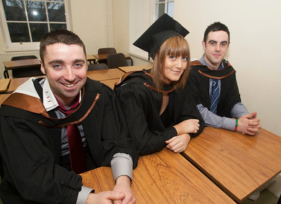 Pictured are Adrain O'Dowd, Wexford, Emily Ryan, Waterford and Alan O'Connor who graduated Bachelor of Arts (Hons) in Legal Studies with Business. Picture: Patrick Browne.