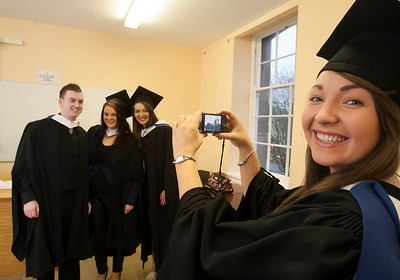 Pictured are Joseph Murphy, Bunclody, Co. Wexford, Megan White, Waterford, Laura King, Dunmore East, Co Waterford, and Ellen Doyle, Waterford who graduated Bachelor of Arts in Legal Studies Studies. Picture: Patrick Browne.