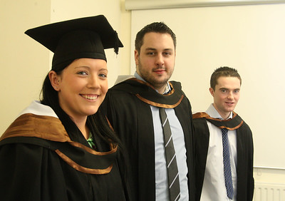 Pictured are Esther O'Rielly, Galway, Tony Kavanagh, Carlow and Anthony Frahill-O'Connor, Cork who graduated Bachelor of Arts (Hons) in Legal Studies with Business. Picture: Patrick Browne.Picture: Patrick Browne.