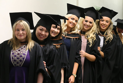 Pictured are Serena Brennan, Kilkenny, Dion Chan, Waterford, Kelly Alyward, Clonmel, Aoife Barden, Wexford, Mairead O'Donovan, Tipperary, Laura Beglin, Waterford who graduated Bachelor of Arts (Honours) in Early Childhood Studies. Picture: Patrick Browne.