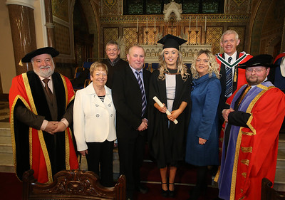 Pictured is Laura Beglin, Waterford who graduated Bachelor of Arts (Hons) in Early Childhood Studies. Also pictured are Jack Walsh, Deputy Chairperson Govering body, Dr. Derek O'Byrne, Registrar of Waterford Institute of Technology (WIT) and Dr Richard Hayes, Ann and Michael Healy, Paul and Dierdre Beglin. Picture: Patrick Browne.