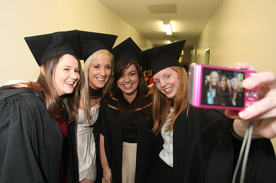 Pictured are Lucy Arkley, Galway, Denise O'Connor, Cork, Kathleen Lonergan, Tipperary, Máire Ní Ghealgaigh, Dublin who graduated Bachelor of Arts (Hons) in Early Childhood Studies. Picture: Patrick Browne.