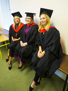 Waterford Institute Of Technology Conferring. Pictured at WIT Waterford Institute Of Technology Conferring are Michelle Spencer, Laois, Fiona Moran, Tipperary, Claire Fitzgerald, Kilkenny who graduated Higher Certificate in Arts in Culinary Arts. Picture: Patrick Browne