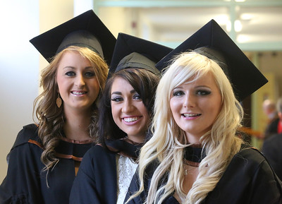 Waterford Institute Of Technology Conferring. Pictured at WIT Waterford Institute Of Technology Conferring are Rachel Doyle, Wexford, Roisin Byrnes,Cork and Nicola Grace, Kilkenny who graduated Bachelor of Science (hons) in Psychiatric Nursing. Picture: Patrick Browne