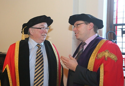 03/01/2014. FREE TO USE IMAGE. Waterford Institute Of Technology Conferring. Pictured at WIT Waterford Institute Of Technology Conferring are Dr Donnie Ormonde Chairman WIT and Dr. Ruaidhrí Neavyn, President, WIT. Picture: Patrick Browne