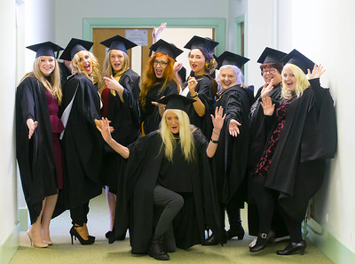 Waterford Institute Of Technology Conferring. Pictured at WIT Waterford Institute Of Technology Conferring are in front, Rose Marie Wall, Waterford, Standing from left, Lisa Byrne, Kilmuckridge, Co Wexford, Ashling Durnin, Dunboyne, Co Meath, Micheala Troy, Wexford, Sarah Dillon, Wexford, Christina Walsh, Waterford, Kay Higgins, Kilkenny, Linda Egan, Waterford and Sorcha Reilly, Kilkenny who graduated Bachelor of Arts (Honours) in Visual Art. Picture: Patrick Browne