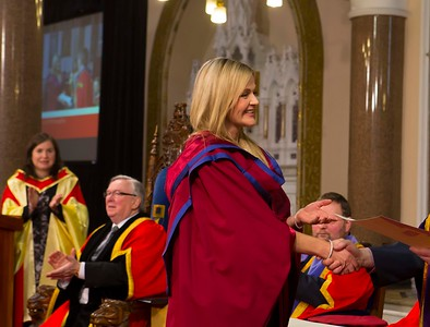Waterford Institute Of Technology Conferring. Pictured at WIT Waterford Institute Of Technology Conferring is Geraldine Cleere, Waterford, Waterford, who was conferred a Doctor of Philosophy by Dr. Ruaidhrí Neavyn, President WIT. Picture: Patrick Browne