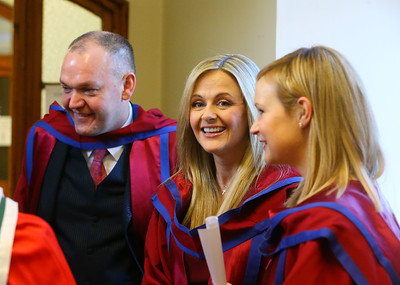 Waterford Institute Of Technology Conferring. Pictured at WIT Waterford Institute Of Technology Conferring is Phil Brennan, Waterford, Geraldine Cleere, Waterford, Jill O'Mahoney, Waterford,  who were conferred a Doctor of Philosophy. Picture: Patrick Browne