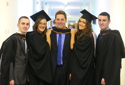 Waterford Institute Of Technology Conferring. Pictured at WIT Waterford Institute Of Technology Conferring are Barry Doyle Laois, Lynn Butler Limerick, Sean Flynn Waterford, Gill Fanning Dublin, Darren Evans Kilkenny who graduated Bachelor of Law (Honours). Picture: Patrick Browne