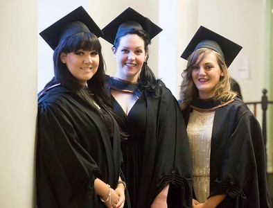 Waterford Institute Of Technology Conferring. Pictured at WIT Waterford Institute Of Technology Conferring are Edwina Cooney, Waterford, Michelle Comerford, Kilkenny and Jasmine Pils, Germany who graduated Bachelor of Arts (Honours) in Psychology. Picture: Patrick Browne
