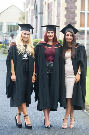 28/10/2015. Waterford Institute of Technology Conferring. Pictured are Zoe Kehoe, Arklow Co. Wicklow, Niamh Greene, Gorey, Co. Wexford and Aoife Gardiner, Galway  who graduated BA (Hons) in Social Care. Picture: Patrick Browne