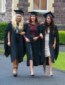 28/10/2015. FREE TO USE IMAGE. WIT (Waterford Institute of Technology) conferring ceremony at WIT College Street Campus, Waterford. Pictured are Zoe Kehoe, Arklow Co. Wicklow, Niamh Greene, Gorey, Co. Wexfoprd and Aoife Gardiner, Galway  who graduated BA (Hons) in Social Care. Picture: Patrick Browne