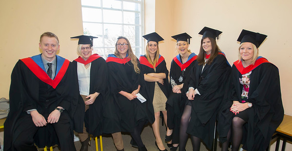 28/10/2015. Waterford Institute of Technology Conferring. Pictured are Mark McGivney, Waterford, Ruth Dowling, Kilmacow, Kilkenny, Claire O'Sullivan, Carrick On Suir, Paulina Pieczonka, Waterford and Nicola Davis, Athy. Picture: Patrick Browne