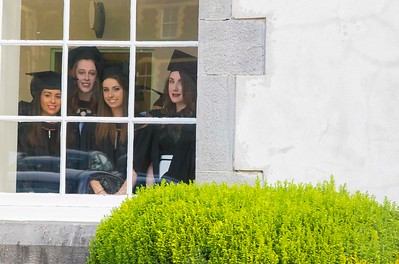 28/10/2015. Waterford Institute of Technology Conferring. Pictured are Alison Leahy, Cork, Rachael Donnelly, Wexford, Edel Cash, Wexford and Niamh Smith, Waterford from Waterford who graduated Bachelor of Laws (Hons). Picture: Patrick Browne